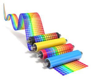 CMYK set of printer rollers with wavy color chart