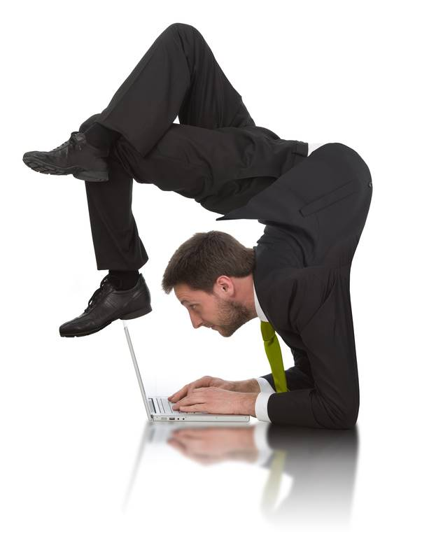 businessman work contortion with laptop isolated on white