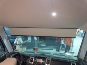 manual scissor blind TN.14.3 on a motorhome full lenght windshield